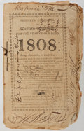 Books:Americana & American History, [Almanac]. Phinneys' Calendar, or Western Almanack, 1808. H.& E. Phinney, 1807. [36] pages. Thread-bound wrappe...