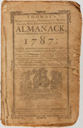 Books:Americana & American History, [Almanac]. Thomas's Massachusetts, Connecticut, Rhode-Island,New-Hampshire & Vermont Almanack, 1787. Worcester:...