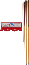 Baseball Collectibles:Others, Stan Musial Pool Cues Lot of 4 & Bat Rack....