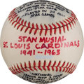Baseball Collectibles:Balls, Stan Musial Career Statistics Baseball....