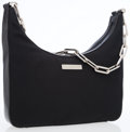 Luxury Accessories:Bags, Gucci Black Leather & Microfiber Bag with Silver Chain ShoulderStrap. ...