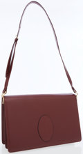 Luxury Accessories:Bags, Cartier Burgundy Leather Envelope Shoulder Bag. ...