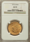 Indian Eagles: , 1912-S $10 AU55 NGC. NGC Census: (198/692). PCGS Population(156/550). Mintage: 300,000. Numismedia Wsl. Price for problem ...