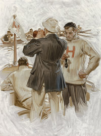 JOSEPH CHRISTIAN LEYENDECKER (American, 1874-1951) Harvard Crew Team, Howard Watch Company advertisement