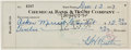 Autographs:Checks, 1937 Babe Ruth Signed Check PSA NM 7....
