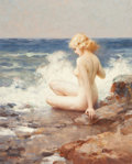 Paintings, JOSEPH TOMANEK (American, 1889-1974). Seated Nude on Rocky Shore. Oil on canvas laid on panel. 20 x 16 in.. Signed lower...