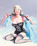 "Pin-up and Glamour Art, DONALD ""RUSTY"" RUST (American, b. 1932). Blonde Pin-Up in BlackNegligee, 1999. Oil on canvas. 30 x 24 in.. Signed and d..."