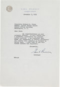 Autographs:Statesmen, [Richard Nixon]. Earl Warren Typed Letter Signed...