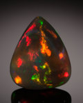 Gems:Cabochons, FINE GEMSTONE: BLACK OPAL - 13.91 CT. with GIA CERT.Ethiopia. ...
