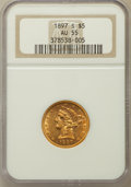Liberty Half Eagles: , 1897-S $5 AU55 NGC. NGC Census: (58/232). PCGS Population (56/103).Mintage: 354,000. Numismedia Wsl. Price for problem fre...