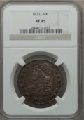 Bust Half Dollars: , 1832 50C Small Letters XF45 NGC. NGC Census: (205/1533). PCGSPopulation (277/1402). Mintage: 4,797,000. Numismedia Wsl. Pr...