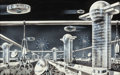 Pulp, Pulp-like, Digests, and Paperback Art, FRANK R. PAUL (American, 1884-1963). Alien Cityscape, ScienceFiction Plus, pulp digest interior illustration. Ink wash,...
