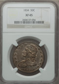 Bust Half Dollars: , 1834 50C Large Date, Large Letters XF45 NGC. NGC Census:(237/1722). PCGS Population (105/758). Mintage: 6,412,004.Numisme...