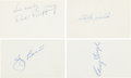 Baseball Collectibles:Others, 1960's Hall of Famers Signed Index Cards Lot of 4....
