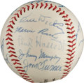 Autographs:Baseballs, 1942 New York Yankees Partial Team Signed Baseball from The Stan Musial Collection....