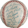 Autographs:Baseballs, 1957 Cincinnati Reds Team Signed Baseball from The Stan MusialCollection....