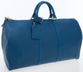 Luxury Accessories:Bags, Louis Vuitton Blue Epi Leather Keepall 50 Weekender Overnight Bag....