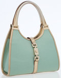 Luxury Accessories:Bags, Gucci Metallic Mint Green Canvas Mini Bardot Bag with MetallicLeather Accents. ...