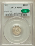 Seated Half Dimes, 1851 H10C MS66 PCGS. CAC....