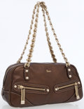 Luxury Accessories:Bags, Gucci Bronze Leather Shoulder Bag with Gold Chain Shoulder Strap....