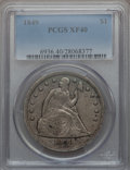Seated Dollars: , 1849 $1 XF40 PCGS. PCGS Population (36/280). NGC Census: (5/244).Mintage: 62,600. Numismedia Wsl. Price for problem free N...