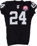 Football Collectibles:Uniforms, 2009 Michael Huff Game Worn, Unwashed Oakland Raiders Jersey - NFL Auction LOA....