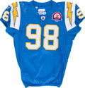 Football Collectibles:Uniforms, 2009 Ian Scott Game Worn, Unwashed San Diego Chargers Jersey - NFL Auction LOA....