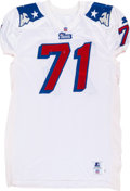 Football Collectibles:Uniforms, 1990's Todd Rucci Game Worn, New England Patriots Jersey - Multiple Team Repairs Throughout....
