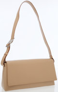 Luxury Accessories:Bags, Salvatore Ferragamo Beige Leather Structured Flap Shoulder Bag. ...