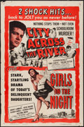 """Movie Posters:Crime, City Across the River/Girls in the Night Combo (Universal, R-1955).One Sheet (27"""" X 41""""). Crime.. ..."""