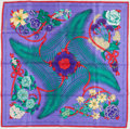 "Luxury Accessories:Accessories, Hermes Purple, Green & Red ""Fleurs de l'Opera,"" by Julia AbadieSilk Scarf. ..."
