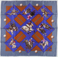 "Luxury Accessories:Accessories, Hermes Gray, Blue & Brown ""Le Monde du Polo"" by Chantal deCrissey Silk Scarf. ..."