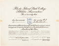 Basketball Collectibles:Others, 1937 Frank Keaney Twice Signed Document - Tough Basketball Autograph!...