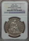 Seated Dollars: , 1841 $1 -- Improperly Cleaned -- NGC Details. AU. NGC Census:(14/141). PCGS Population (37/139). Mintage: 173,000. Numisme...