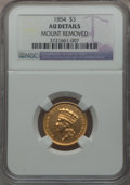 Three Dollar Gold Pieces: , 1854 $3 -- Mount Removed -- NGC Details. AU. NGC Census:(188/3174). PCGS Population (335/2162). Mintage: 138,618.Numismed...