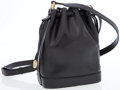 Luxury Accessories:Bags, Celine Black Leather Mini Drawstring Shoulder Bag with GoldHardware. ...