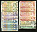 Canadian Currency: , Canada Confederation Centennial and Scenes of Canada Notes.. ...(Total: 14 notes)