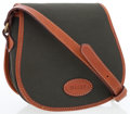 Luxury Accessories:Bags, Bally Brown Leather & Green Canvas Crossbody Flap Bag . ...