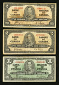 Canadian Currency: , BC-21d $1 1937. BC-22b $2 1937. BC-22c $2 1937. ... (Total: 3notes)