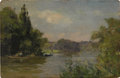 Fine Art - Painting, European:Antique  (Pre 1900), MAURICE LEVIS (French 1860-1940). Boaters Along the River,circa 1895. Oil on wood panel. 6-1/4 x 9-1/2 inches (15.7 x 2...