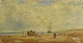 Fine Art - Painting, European:Antique  (Pre 1900), DUTCH SCHOOL (Nineteenth Century). Workers Ashore. Oil onpanel. 9 x 17 inches (22.9 x 43.2 cm). Unsigned. ...