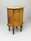 Furniture, A Louis XVI Style Marble Top Petite Side Cabinet. . Unknown maker, probably French. 19th century. Marquetry, marble, mother-...