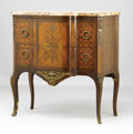 Decorative Arts, French, A Louis XV Style Marble Top Petite Commode . . Unknownmaker, probably French. 19th century. Marquetry inlay with gi...