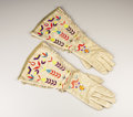 American Indian Art:War Shirts/Garments, A PAIR OF SIOUX PICTORIAL QUILLED HIDE GAUNTLETS. . c. 1890. ...
