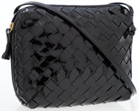 Bottega Veneta Black Patent Intrecciato Woven Leather Crossbody Bag