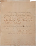 Autographs:U.S. Presidents, Abraham Lincoln Affix the Seal Signed... (Total: 2 Items)