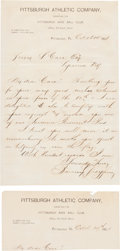Baseball Collectibles:Others, 1901 Barney Dreyfuss Handwritten Signed Letter to Pirates Player....