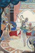 Mainstream Illustration, RENE BULL (British, 1872-1942). The Snake Charmer. Pen andwatercolor on paper laid on paper. 12.5 x 8.75 in. (sheet). S...