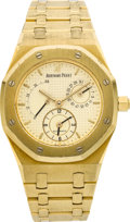 Timepieces:Wristwatch, Audemars Piguet Gold Royal Oak Dual Time Automatic With PowerIndication. ...