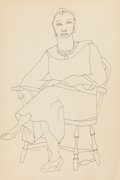 Fine Art - Work on Paper:Drawing, LOUISE NEVELSON (American, 1899-1988). Self Portrait, circa1935-1940. Pen and ink on light tan wove paper. 18 x 12 inch...